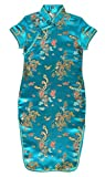 Robe chinoise Qipao enfant fille turquoise motif dragon - 12 ans