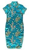 Mädchen chinesisch kleide türkis qipao partykleid satin asiatisch Drachenmotiv 10 jahre