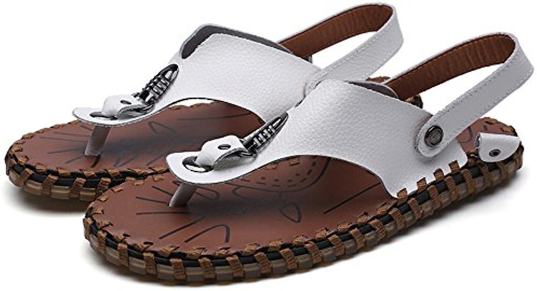 Chancletas de la Correa Ocasional de los Hombres Zapatos de Cuero Genuino Zapatillas de Playa Antideslizante Trabajo...