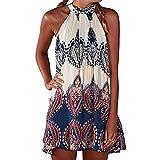 Minikleid Freizeitkleid A Linien Ärmellos Rundkragen Retro Blumendrucken Ethno-Style Sommerkleid Strandkleid Kleidchen Kurz Sommer Damen