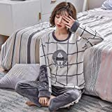 LSJSN Schlafanzug Winter Flanell Cartoon Bär Warm Paar Frauen Und Männer Langarm Pyjamas Mode Zu Hause Kleidung M_B