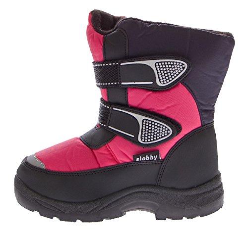 Kinder Schnee Stiefel Jungen Mädchen Winter Schuhe warm gefüttert Outdoor Boots Gr. 28-35 Navy-Fuchsia