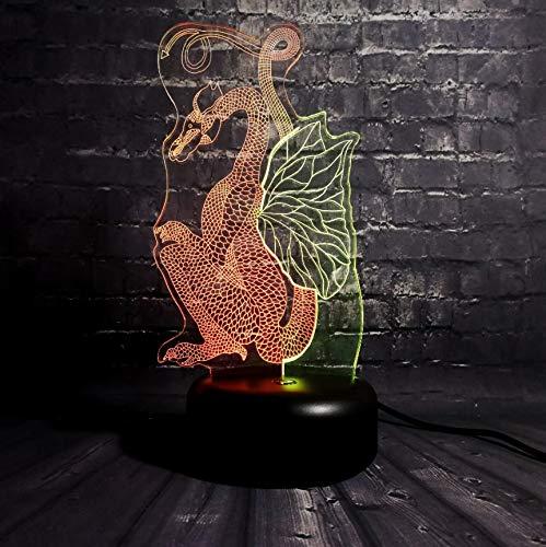 Klassische Papier-Cut Drachen Dinosaurier 3D Led Doppel Farbe 7 Farbe Heimtextilien Schlaf Beleuchtung Optische Täuschung Lampe -