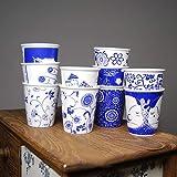 MAKEBEIZI Kaffeetassen New Rural Style Wellenpunkt Keramik Nachahmung Pappbecher Handschale Wasser Tasse