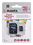 RiData 32GB Class 10 Ultra Micro SDHC Memory Card with Adapter and USB Card Reader (MSD32GBCLASS10U1USBAD)