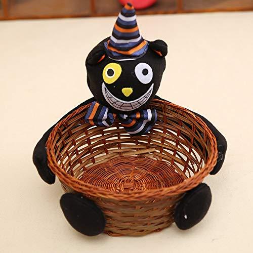 Candyboom Süßigkeits-Plätzchen-Korb, Halloween-Weihnachtssüßigkeit-Speicher-Handgemachter dauerhafter Bambus-Rattan-Knited Korb, Schwarze Katze, 23 * 20CM