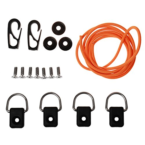 MagiDeal Kayak Canoes Bungee Deck Rigging Kit D Rings Hooks Screws Hardware Accessory