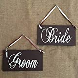 Questquo 2Pcs(1 Pair) Wood Bride and Groom Couple Signs Wooden Party Photo Booth Props Romantic Love Party Decoration