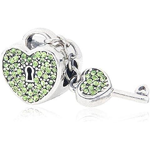Soulbead regalo di San Valentino a forma di cuore, con ciondolo a forma di chiave, (Peridot Forma Di Cuore Ciondolo)