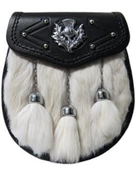 Schottischer Kiltsporran mit Distelemblem, Weißem Kaninchenfell & 3 Troddeln
