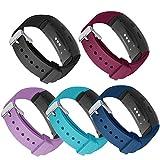Compatible Bandes Gear Fit2 Pro / Fit2, Kmasic Remplacement en Silicone Bracelet de pour Samsung Gear Fit 2 & 2 Pro Tracker (Paquet de 5-Noir\Bleu\Vin Rouge\Teal\Violette Pastel)