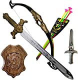 #3: Tanvi Bahubali Warrior Set - Knights Fancy Dress Kids Cosplay - King's Sword, Sheild, Hand Armor , Bow & 3 Arrows