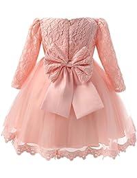 Manga Larga de Encaje Vestido de Flores de la Princesa Bowknot Boda Niña Vestido para Princesa Fiesta Infantil Elegante Bautizo Ceremonia Cumpleaños