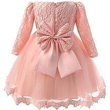 Vestito Bambina Elegante Manica Lunga con Fiocco Pizzi tutu per Compleanno  Partito Festa Nuziale Prom 3 f9cfc36d1f4