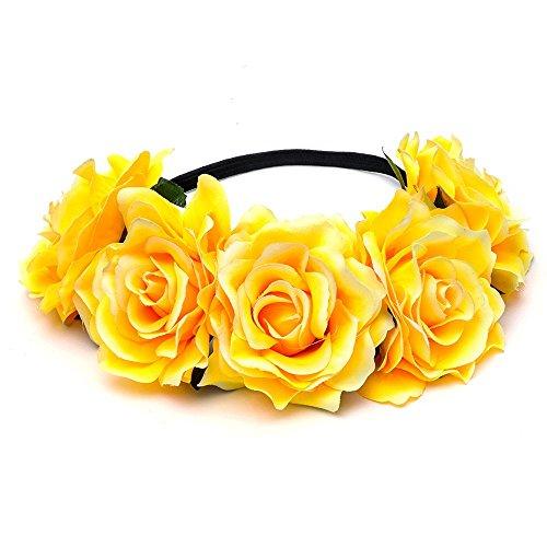 DreamLily Damen hawaii-stretch-rosen-blumen-stirnband-blumenkrone für garland partei bc12 Gelb One Size (Rose-stirnband Gelbe)