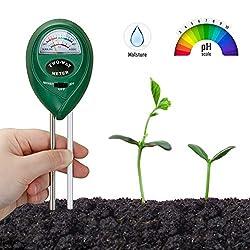 3-in-1/Erdefeuchtigkeit-Messger/ät mit Licht Boden-pH-Messger/ät Testset f/ür Pflanzenbodengrund f/ür die Garten-Landwirtschaft pH /& S/äure-Meter