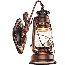 bcyhh Retro Candelabro de pared Apliques Vintage Rústico clásica elegante la Industria lámpara de pared de hierro forjado Farol 1× E27metal creativa lámpara de pared Luz Noche Escaleras (No se incluye Bulb)