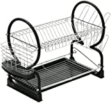 Premier Housewares Two Tier Dish Drainer, 56 cm - Black
