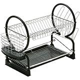 Premier Housewares Two Tier Dish Drainer, 56 cm - Black