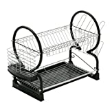 Premier Housewares 2 Tier Dish Drainer with Drip Tray, 0509635 - Black/Chrome