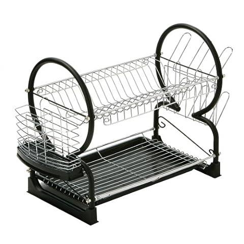 Premier Housewares 2-Tier Dish Drainer, 56 cm - Black