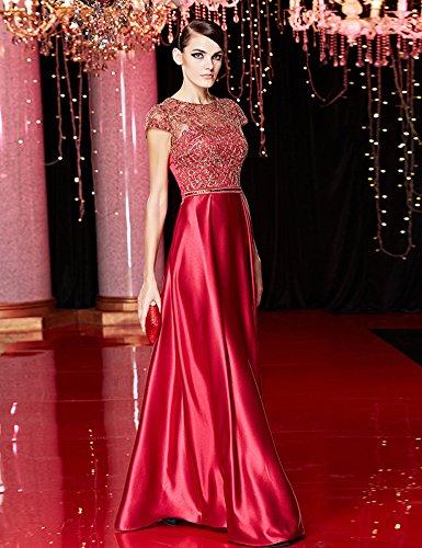 Beauty-Emily -  Vestito  - linea ad a - Collo a U  - Maniche corte  - Donna Vinaccia