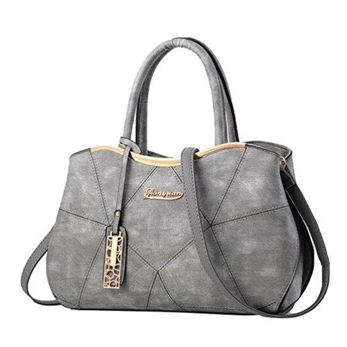 Baymate Handtasche Große Tasche Retro-Handtaschen lässig Umhängetasche Kuriertasche für Frauen Hell Grau