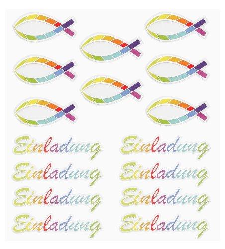 (HOBBY-Design Sticker Einladung Regenbogen-Fisch,Bogen 15 x 16,5 cm)