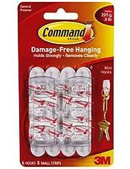 3M Command Lot de 6 crochets Mini-crochets avec bandes adhésives Command Chaque crochet supporte jusqu'à 225 g 30 x 20 mm (Import Royaume Uni)