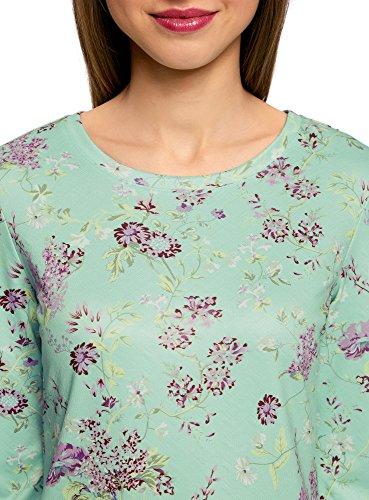 oodji Ultra Femme Sweat-Shirt à Col Rond et Manche 3/4 Vert (6580F)