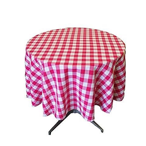 LA Linen Poly Checkered Round Tablecloth, 58-Inch, Fuchsia/White by LA Linen