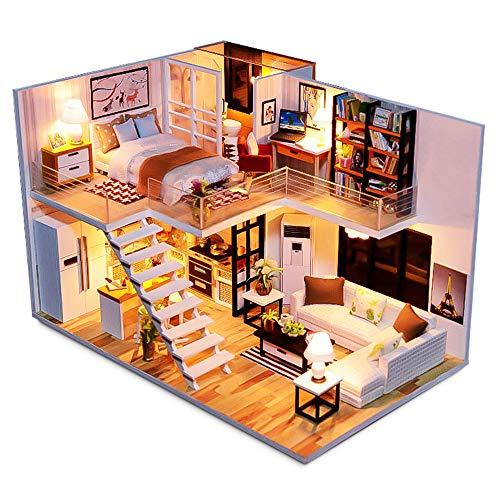 DIY Miniatur Puppenhaus Holzmöbel Kit,Handgemachte Mini Duplex Apartment Home Modell mit Tools & Spieluhr,3D Puzzle Kreative Puppenhaus Spielzeug für Kinder Geschenk