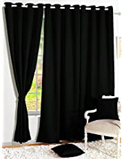 Story@Home Blackout Plain Faux Silk Solid 1 Piece Window Curtain for Bedroom