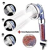 austor iónico Filtro de ducha de mano cabeza, 3-way Spray alcachofa con extra 2 Pack Bola de mineral de iones de repuesto