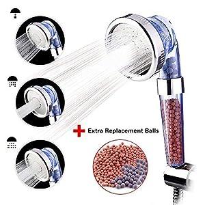 austor iónico Filtro de ducha de mano cabeza, 3-way Spray alcachofa con extra 2 Pack Bola de mineral de iones de…