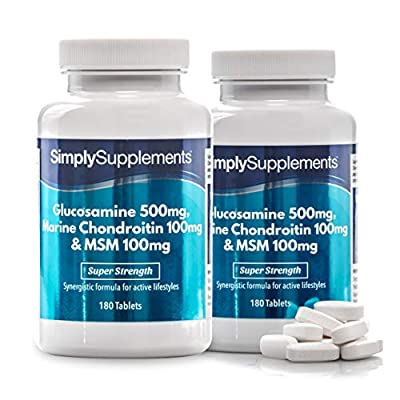 Glucosamine, Chondroitin & MSM | Comprehensive Formula to Support an Active Lifestyle | 2x 180 Tablets | Manufactured in the UK