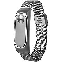 Correa de reloj de pulsera elegante, KanLin1986 ligero de acero inoxidable correa de reemplazo para Xiaomi Mi banda 2 Smart Wristband (plata)