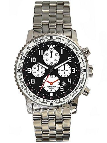 Astroavia Herren-Armbanduhr Alarm Chronograph Quarz Edelstahl F1S