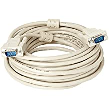 LogiLink VGA Monitor Kabel 10m HD DSUB 14-pin(männlich/männlich, 1-fache Abschirmung, Ferritkern) beige