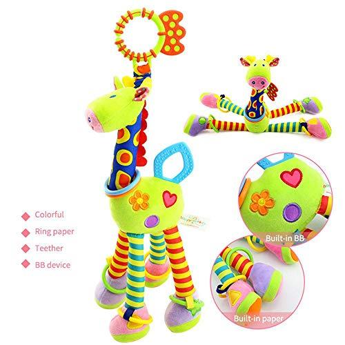 Plüsch Rassel Glocke Babyspielzeug-Kinderwagen hängen Spielzeug - Kinderwagen Hängende Glocke Mit Weichem Plüsch -Giraffe Anhänger Plüschtier- Mit 0-3 Jahre Baby