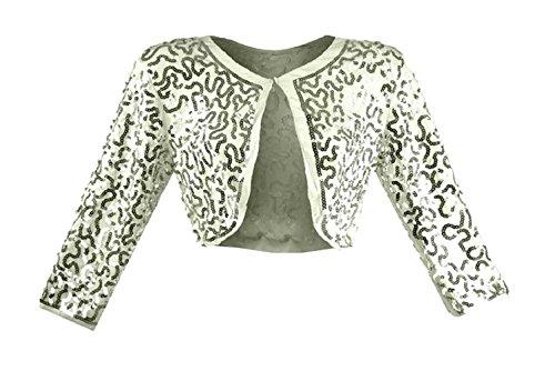 #999 Damen Designer Bolero mit Pailletten bestickt Jäckchen langarm 36 38 40 Onesize Weiß