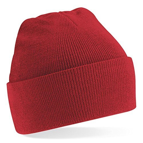 Beechfield Knitted hat with turn up in Bright Red Leuchtend rote