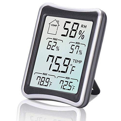 Feuchtigkeitsmesser, Hygrometer, [2018 Neueste Version] cohcoh Multifunktionale Temperatur Luftfeuchtigkeit Monitor LCD Innen Digital Raumthermostat Thermometer mit Min/Max Records, ° C/° F Schalter, Präzise Messungen für Home Office, etc.