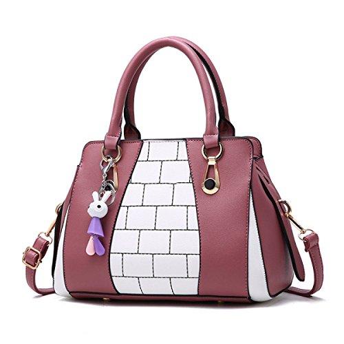 WU ZHI Dame Hit Color Stitching Handtasche PU Weichen Leder Handtaschen Umhängetasche Messenger Bag Red