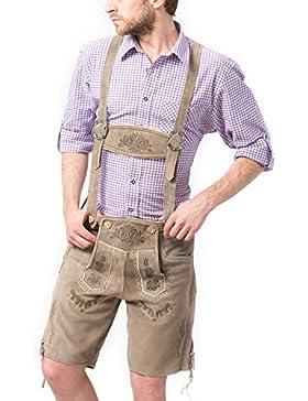 Tannhauser Kurze Trachten Lederhose Vintage aus echtem leder mit Hosenträger Grau, Trachtenlederhose Vintage in...