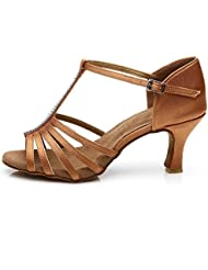 Roeua femenino ES7-F27 satín latino la danza el zapato