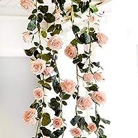 Amkun Artificial Vintage Fake Silk Rose Flower Ivy Vine Leaf Garland Hanging for Party Wedding Home Wall Indoor Decor 1 PCS (Pink)
