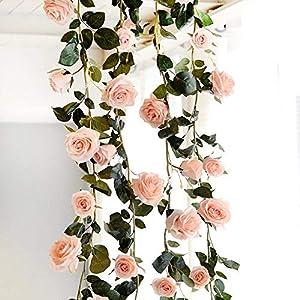 Amkun – Guirnalda vintage artificial de rosas sedosas y hojas de vid para colgar en bodas, pared de casa o como…