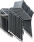 Stapelsessel 'Yoko' Rattan beige grau braun Stapelstuhl stapelbar Gartenstuhl Stuhl Sessel , Farbe:grau
