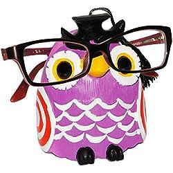 """Brillenhalter - """" lustige Eule - lila """" - stabil aus Kunstharz - universal Größe - für Kinder & Erwachsene / Brillenhalterung - lustiger Brillenständer - für Sonnenbrille Lesebrille - Brillenablage - Tier lustig - Deko Figur - Prüfung - Schule / Lernen Abschluß - Fahrschule - Universität"""
